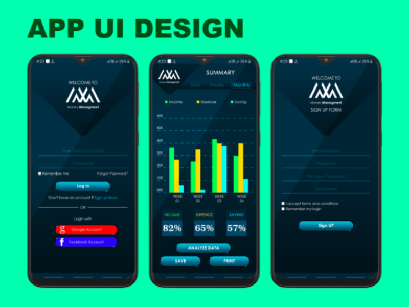 Money Manager App UI design screens app mockup app ui mobile app ui design
