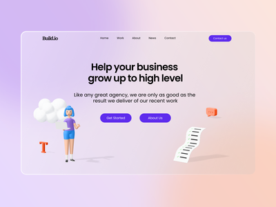 Agency Website design ux design typography ui uiux illustration 3d characters agency website minimalism glass effect minimal homepage 3d illustration landing page glassmorphism