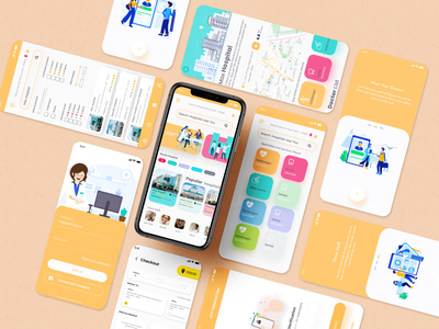 Hospital App Book Your Doctor Now intro screens search with filter intro screen hospital app rkhd flat icon web ecommerce login app ux 2020 ui trends typography branding