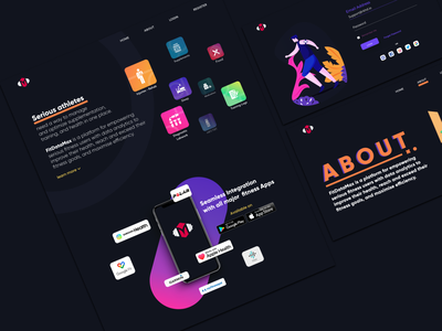 Athletes Landing Page landing page concept about page login app landing page dark ui fitness website landing page athletes rkhd vector icon website app ux ui 2020 ui trends branding illustration