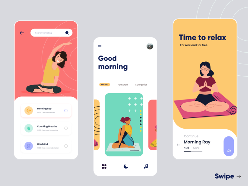 Yoga 1.0 2020 yoga studio yoga app yoga pose music fitness young rkhd meditation app yoga design typography app ui ux 2020 ui trends branding illustration