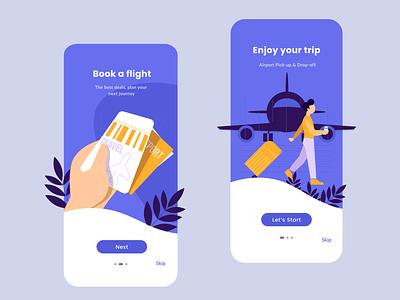 Travel App - Onboarding clean ui onboarding ui rkhd airport flight app app intro travel app onboarding ui ux 2020 ui trends design