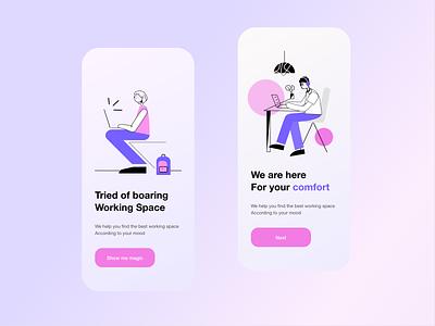 Co working App  -  Onboarding Screens onboarding ui minimal branding rkhd vector ux ui typography 2020 ui trends illustration design onboarding screen