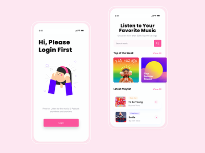 Music & Podcast App music app rkhd homepage podcasr login music typography 2020 ui trends design