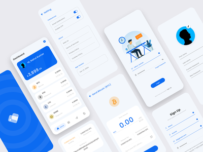 Bitcoin Wallet App blue rahul kumar bitcoin services bitcoins profile send bitcoin brand identity dashboard splash page signup login app branding illustration design rkhd wallets crypto wallet cryptocurrency bitcoin