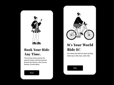 Bicycle Book - App Onboarding screen sapienscharacterbuilder sapienscharacterbuilder ux bicycling ride now screens onboarding minimal clean design blackandwhite branding rkhd illustration bicycle shop app bicycle app bicycles
