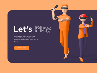 VR Game Play - Landing Page light dark version hero image lets play brand design landingpage minimal design ui ux typography branding design illustration rkhd playstation 3d gameplay playstore vr playstation5