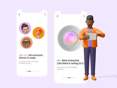 Apple Home Pad Mini siri alexeletskiy 3d ui ux app typography 2020 ui trends illustration rkhd design onboarding screens apple design siri apple