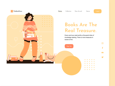 The Book Store bookapp bookshelf reading ui illustration design branding typography 2020 ui trends bookshop rahul kumar ecommerce bookstore minimnal landing page uidesign books
