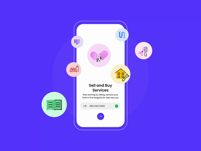 Buy sell & Services app icon branding login splash animation typography illustration design minimal rahul kumar crony24 olx old school buy app services app