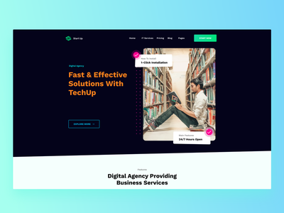 Digital Agency - Landing Page digital illustration dribbble it services support techup solusions website ux typography branding 2020 ui trends illustration design rkhd dailyui heropage landing page startup digital agency
