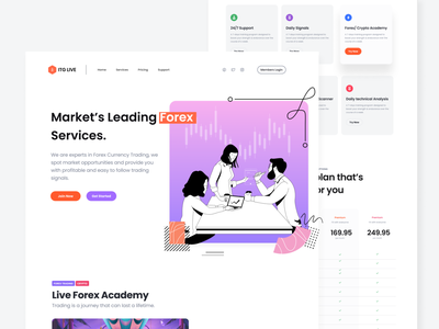 Forex Landing Page hero section landing page design hero page marketing uidesign ux 2021 2020 ui trends illustration typography cryptocurrency forex landing page