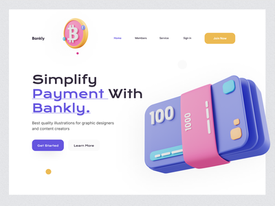 Bankly Landing Page landing page website trends illustration rahul kumar delhi ux ui ux payment brand identity 3d branding typography
