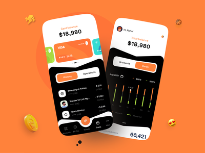 Bank Dashboard typography banking app ux apps navigation charts banking app vector 2020 ui trends trending ui account cards dashboard bank