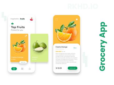 Morden Grocery App visual design ecommerce app grocery store grocery app app ux typography rkhd branding illustration design