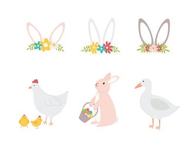 Easter Illustrations clipart digital illustration duck illustration rabbit illustration chicken illustration clip art illustrations easter clipart easter ilustrations