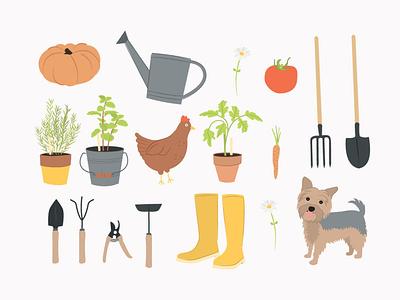 Gardening Clipart illustrations clip art illustrations digital illustration digital drawing clipart illustration clipart gardening illustrations