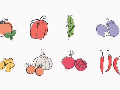 Vegetable illustrations (The Name Sauce Company) flat illustration digitaldrawing digital illustration vegetable illustrations