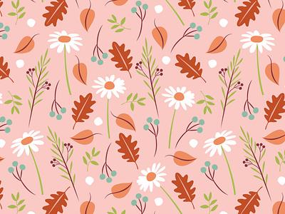 Autumn Leaves pattern illustration digital illustrations surface pattern designer surface pattern daisies botanicals autumn pattern autumn leaves
