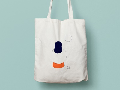 Tote bag - Illustration character flat design line art illustrator graphic design girl vector simplicity art minimalist simple minimal design illustration totebag
