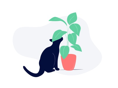 cat illustrator design simple plant cat illustration
