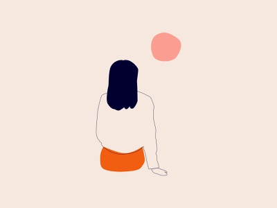 Sun simplicity woman flat design pink graphic design illustrator girl line art lines flat illustration character design character vector art simple minimalist minimal illustration design
