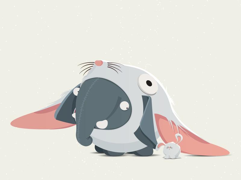 Olli as rabbit digitalart illustration design illustration art rabbit cute illustrations characters characterdesign vector childrens book illustration hiro daro illustrator animation elephant ollimania olli
