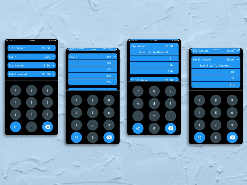 Tip Calculator forfun adobexd ios mobile calculator app