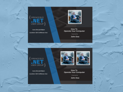 Templates for Springfield .Net User Group speaker practice adobe adobexd techgroup template