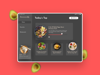 Food Recommendation App (Day 6) figma anas2479 ipad food and drink food web ui design