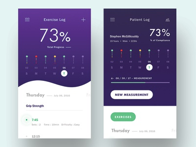 Patient and Therapist Dashboards todo calendar exercise tool shapes lines typography gradient purple dashboard mobile ui