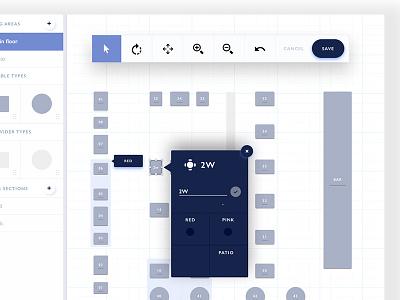 Configure Restaurant Floor Plan tablet square restaurant native icons desktop dashboard tool blue ux ui