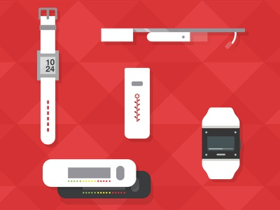 Minimal Vectors of Wearable Technology  huffingtonpost pebble watch basis watch nike fuel google glass grey feedback vector ui flat triangles icons