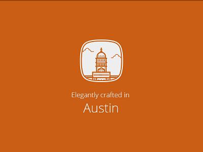 Eleganty Crafted in Austin austin texas minimal capital icon seal logo city