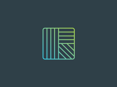 """R"" Branding Ideas gradients minimal lines blue subtle. green logo brand"