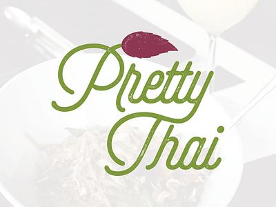 Pretty Thai food typography texture green purple branding logo thai pretty