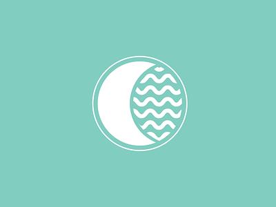 Aqua Luna logo brand minimal moon waves icons aqualuna luna aqua