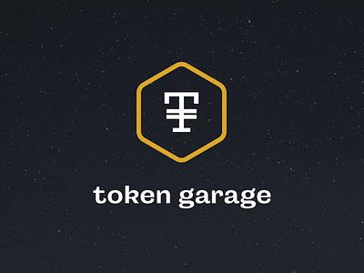 Token Garage hexagon crypto accelerator sanfrancisco branding blockchain black gold minimal logo