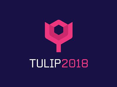 Tulip Conference 2018 purple design hexagon blockchain tech pink branding minimal crypto clean logo