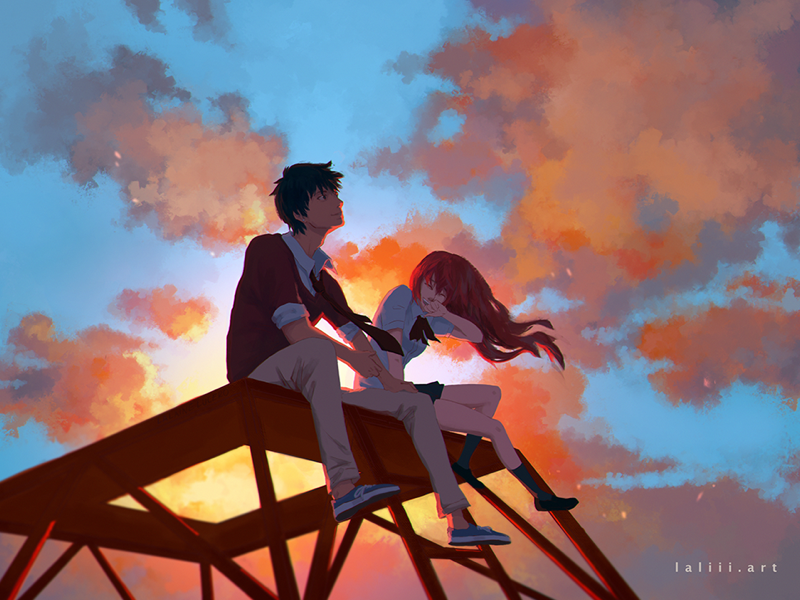 Moments With You background environment original laliiiart painting couple photoshop clouds visual development concept art illustration