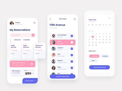 Space Reservation App office building office space reservation space mobile ui mobile ux ui