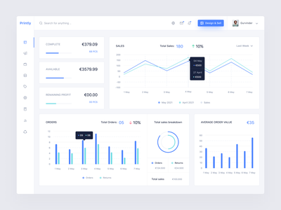 Printly-Print-on-demand Web application campaign online shop product design apperal clothing analytics statistic clean dashboard minimal tshirt design printondemand product ux ui