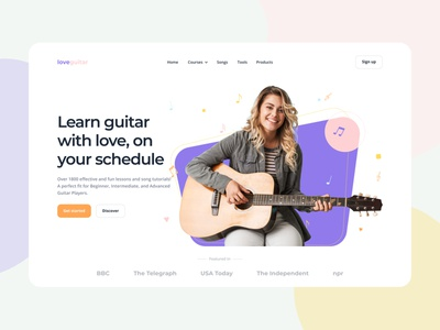 LoveGuitar - Landing page for guitar academy music instrument learn guitar guitar academy guitar music website web product ux ui