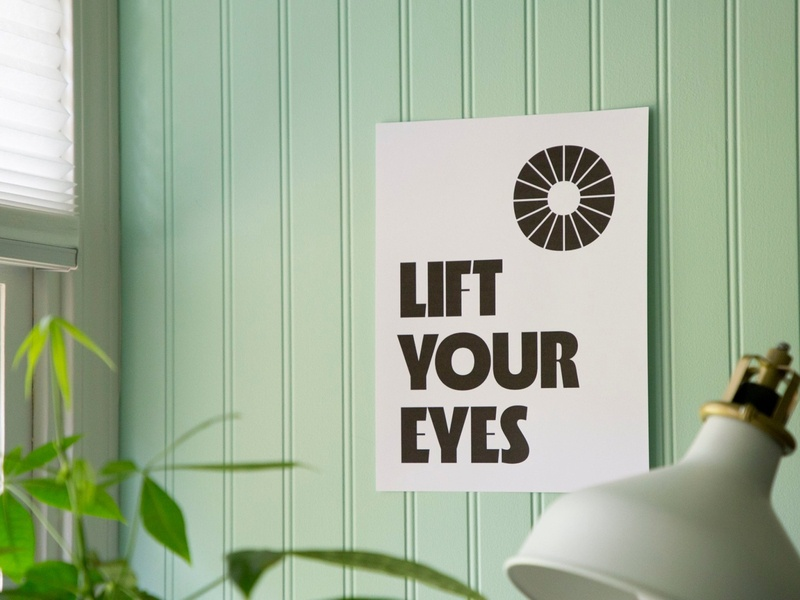 Lift Your Eyes poster eyes god is good peace roba sun hope print