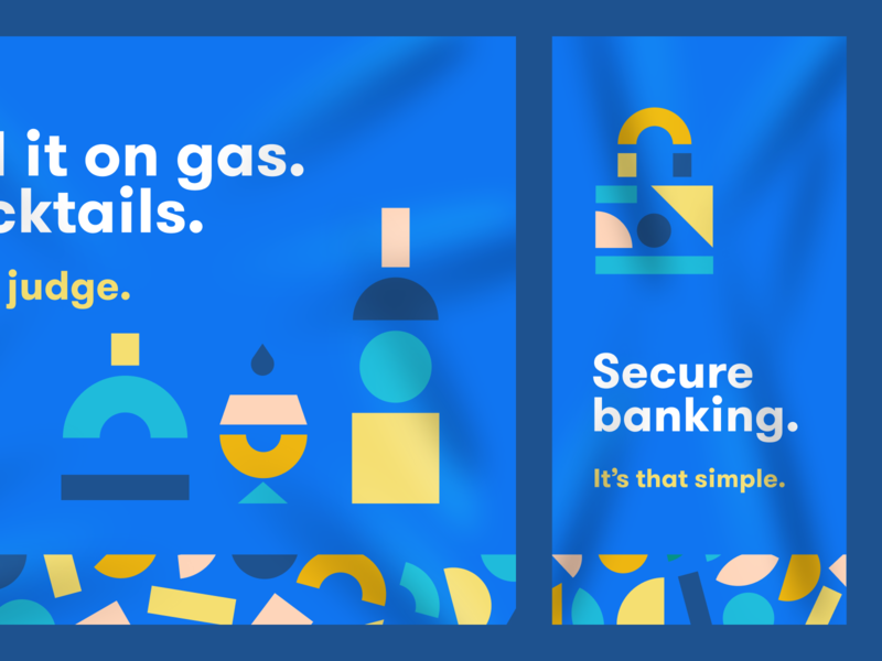 Financial Shapes 02 brand system playful geometry finance shapes cocktails brand identity brand banking app bank banking bank brand