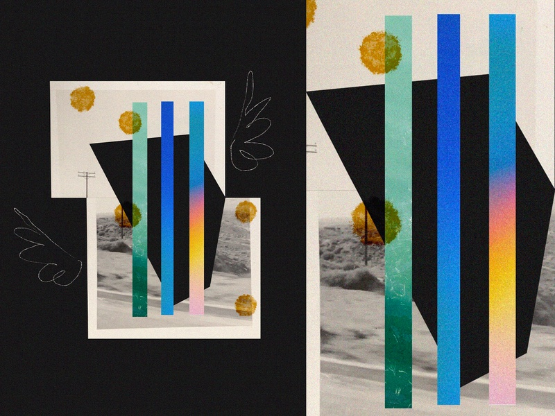 Collage 02 cut paper sketch found photo collage
