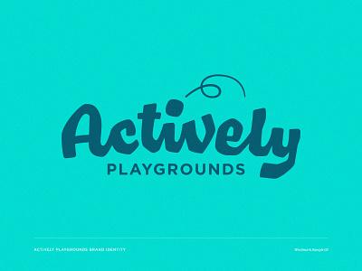 Actively 03 swingset wordmark playground play outdoor logotype lettering custom wordmark brand identity
