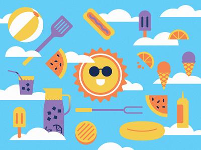 🍉🌭🥤☁️🌞☁️🍊🍔🍦 happy watermelon ice cream burger illustration hot dog labor day sun