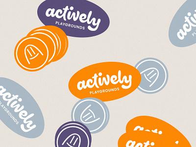 Actively 05 brand identity custom wordmark lettering logotype outdoor play wordmark active swingset playground actively