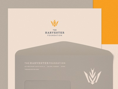 The Harvester Foundation 01 gold identity system brand identity identity trademark symbol crown barn swallow wheat fields church planting foundation harvest midwest church